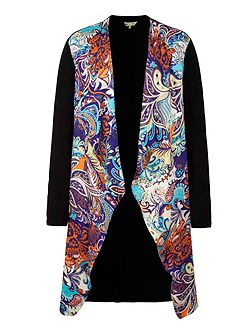 Paisley Print Waterfall Cardigan