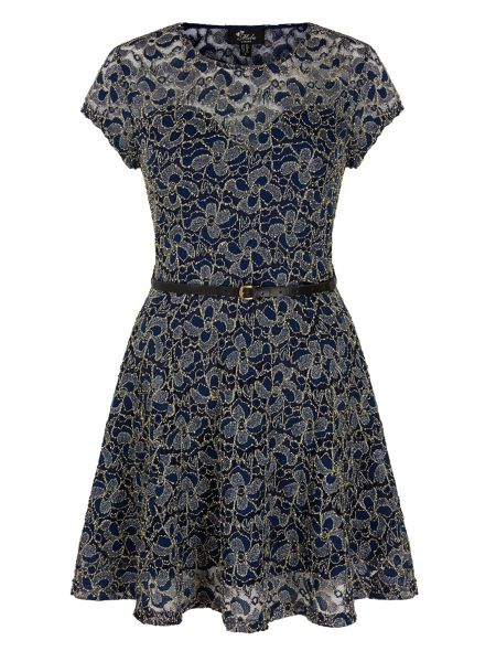 Mela London Shimmer Lace Skater Dress
