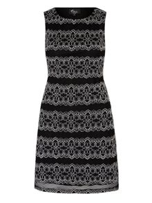 Mela London Monochrome Lace Panel Shift Dress