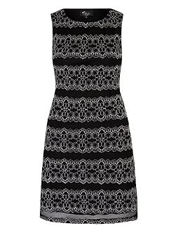 Monochrome Lace Panel Shift Dress