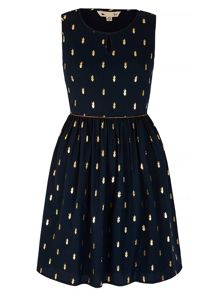 Yumi Gold Cactus Print Dress
