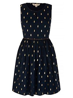 Gold Cactus Print Dress