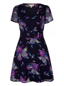 Yumi Floral Bird Motif Print Tea Dress