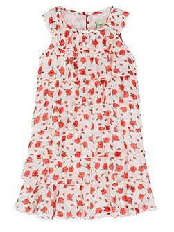 Girls Floral Print Frill Dress