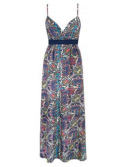 Paisley Print Strappy Maxi Dress