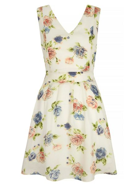 Mela London Rose Print Skater Dress