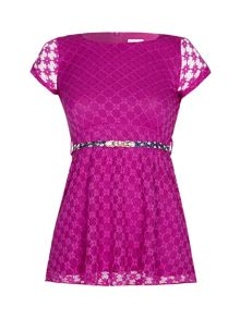 Yumi Girls Girls Floral Lace Skater Dress