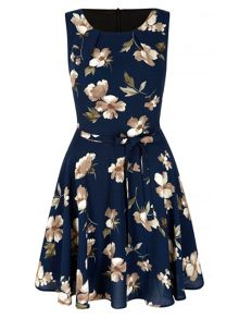 Mela Loves London Navy Flower Printed Shift Dress