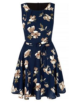 Navy Flower Printed Shift Dress