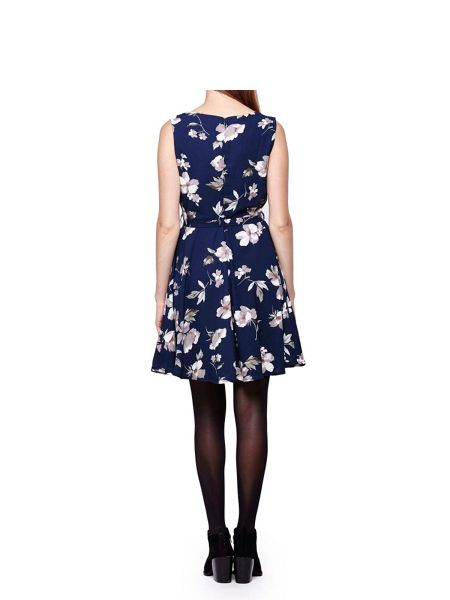 Mela London Navy Flower Printed Shift Dress
