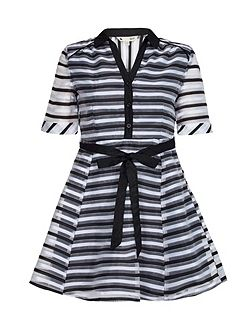 Black Striped Organza Collar Dress