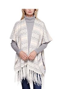 Yumi Knitted Poncho With Open Front
