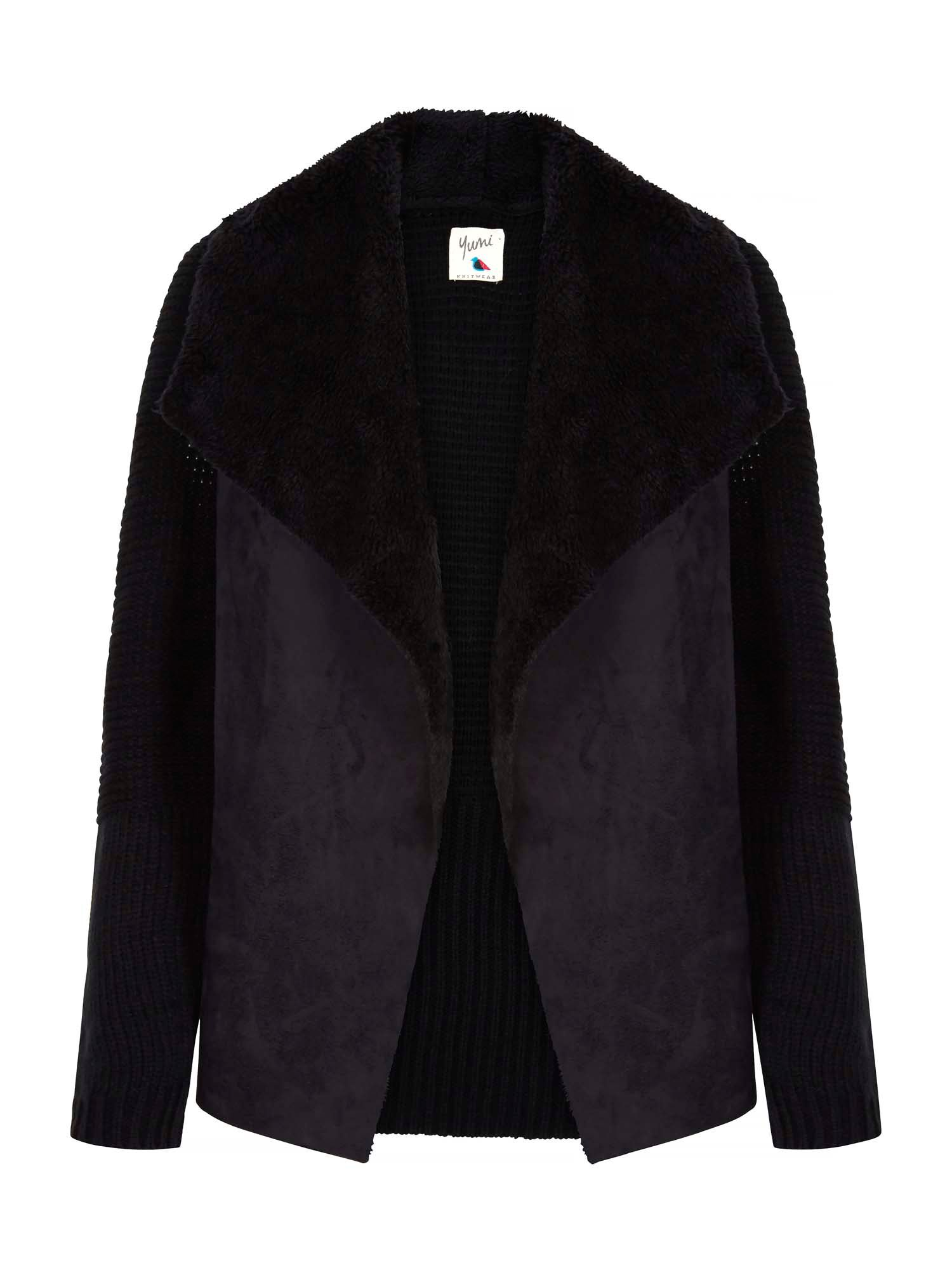 Yumi Suedette Knit Waterfall Jacket Black