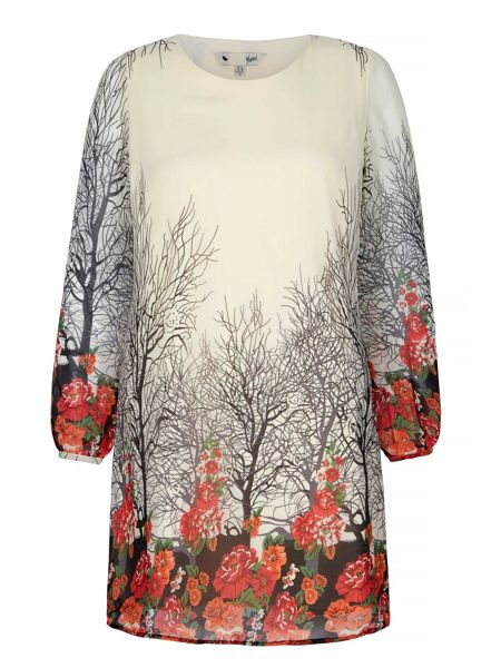 Yumi Ditsy Blossom Print Tunic Dress