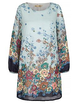 Japanese Floral Print Tunic Dress