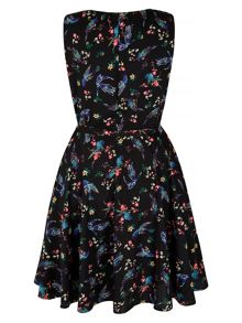 Mela London Bird and Floral Print Skater Dress