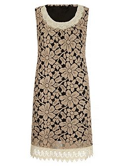 Pearl Lace Contrast Shift Dress