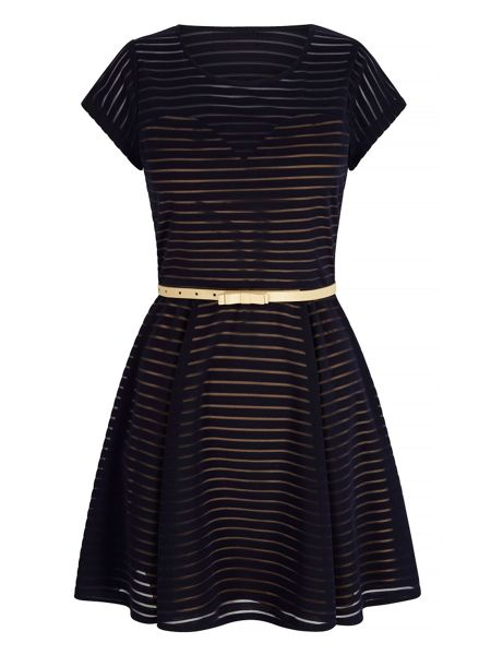 Mela London Stripe Contrast Skater Dress with Belt included