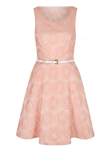 Mela London Lace Sweetheart Skater Dress with Belt included