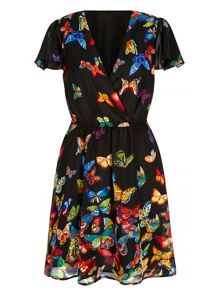 Mela Loves London Butterfly Print Wrap Dress