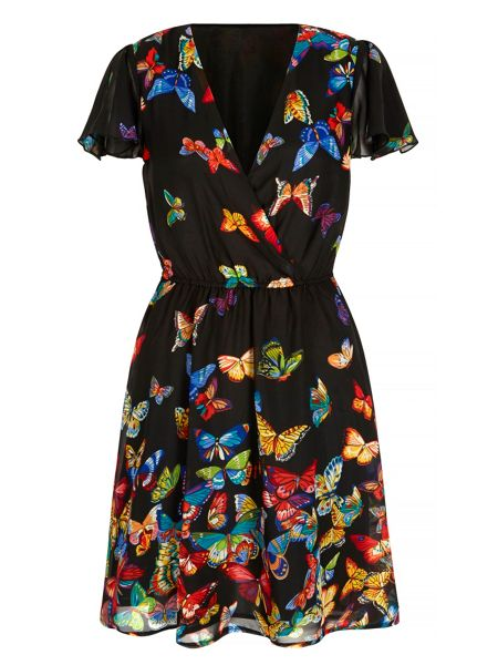 Mela London Butterfly Print Wrap Dress