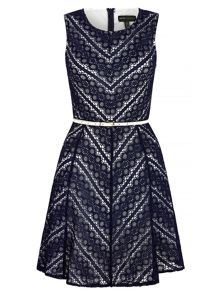 Mela Loves London Zig Zag Lace Skater Dress with Belt included