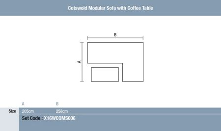 Bramblecrest Cotswold modular sofa with coffee table