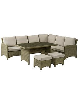 Cotswold modular sofa with dining table & stools