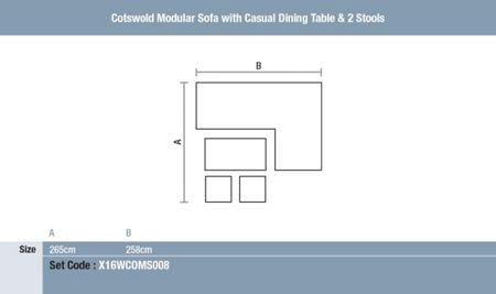 Bramblecrest Cotswold modular sofa with dining table & stools