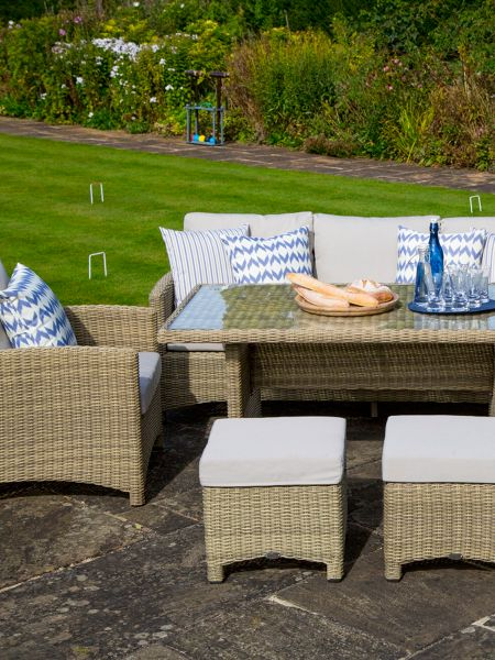 Bramblecrest Cotswold casual dining set with sofa, 2 chairs &