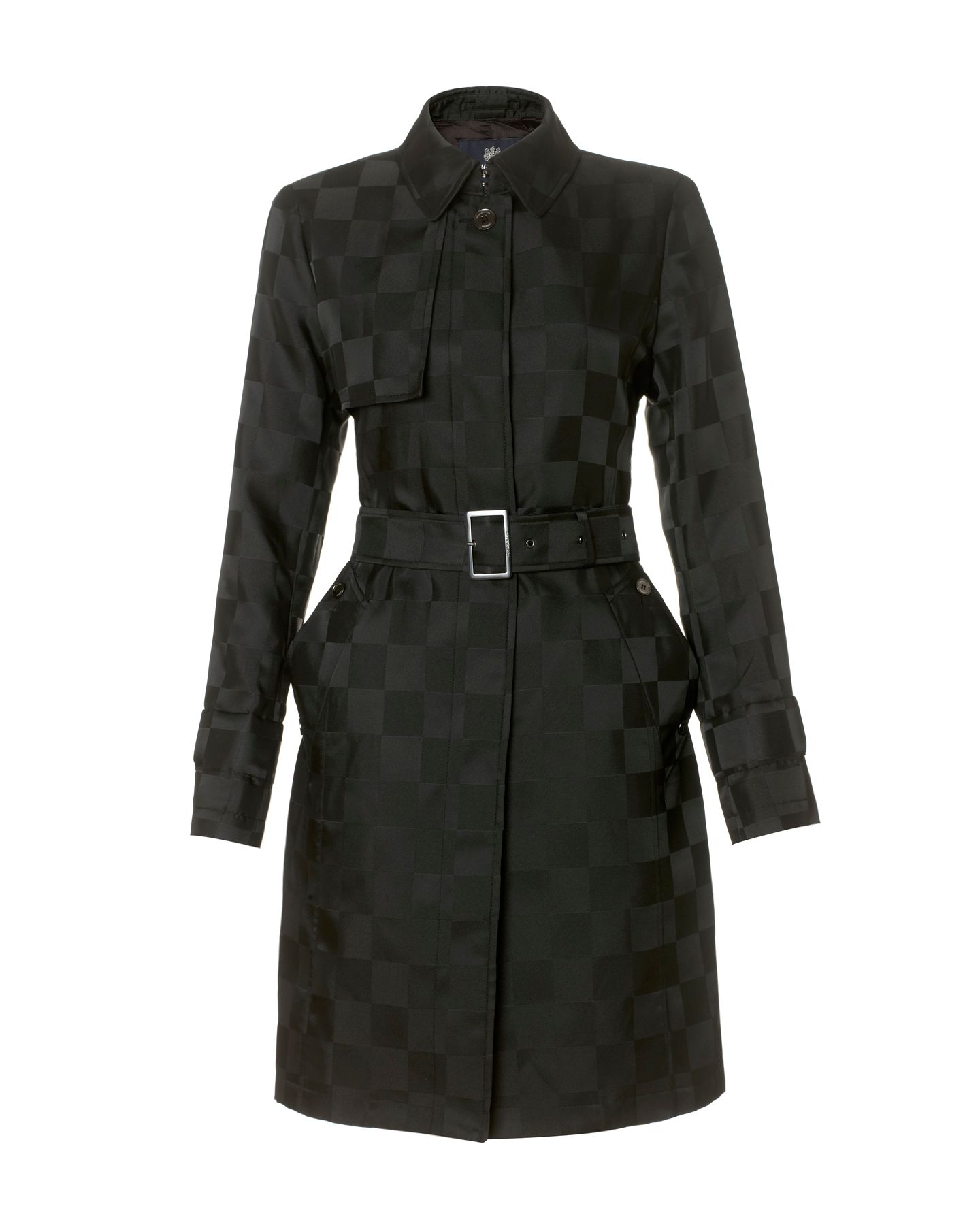 Check print trench coat