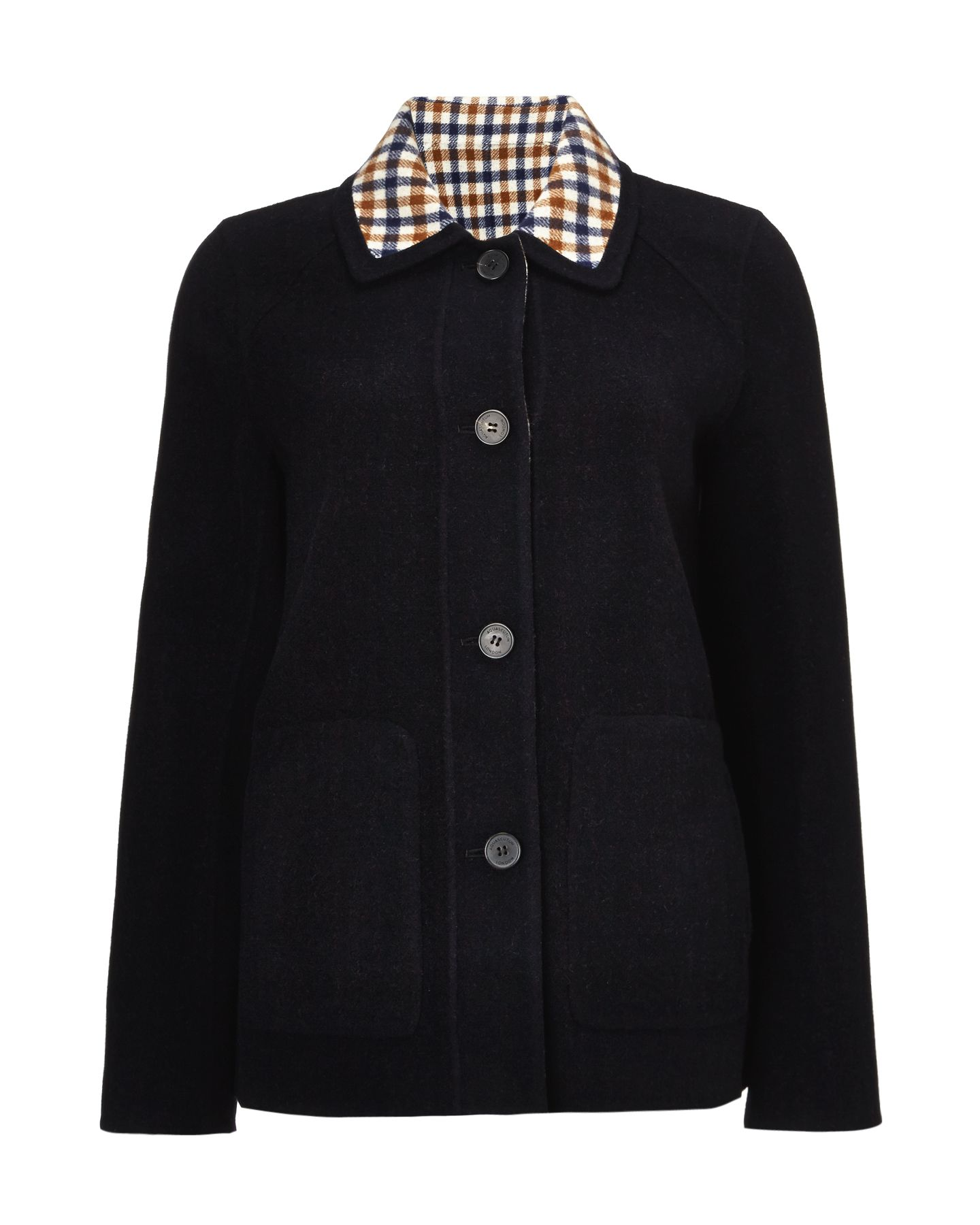 Reversible club check print coat
