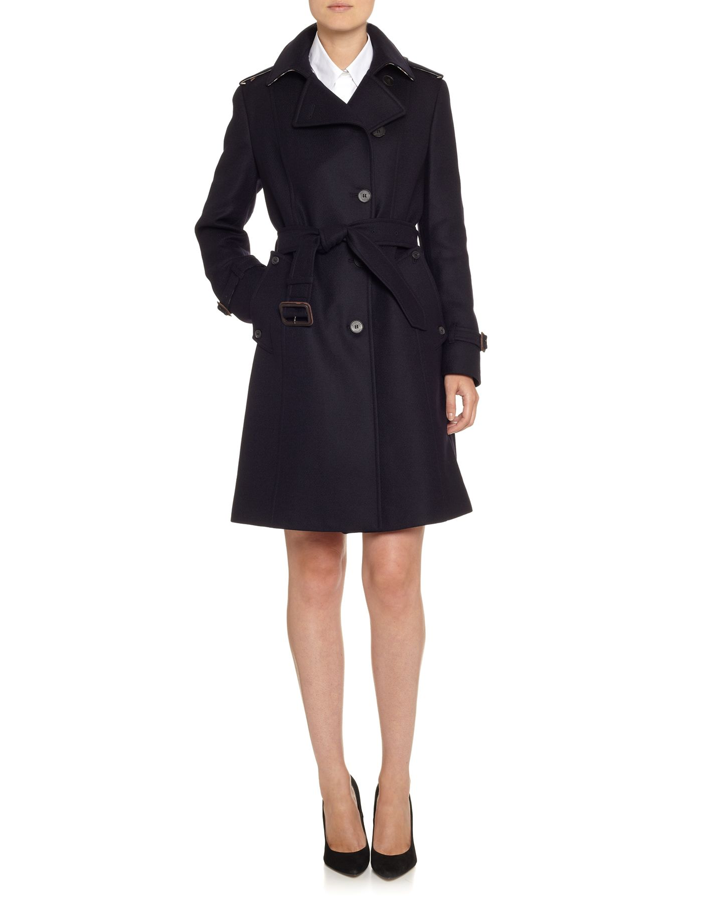 Wool twill double breasted trench coat