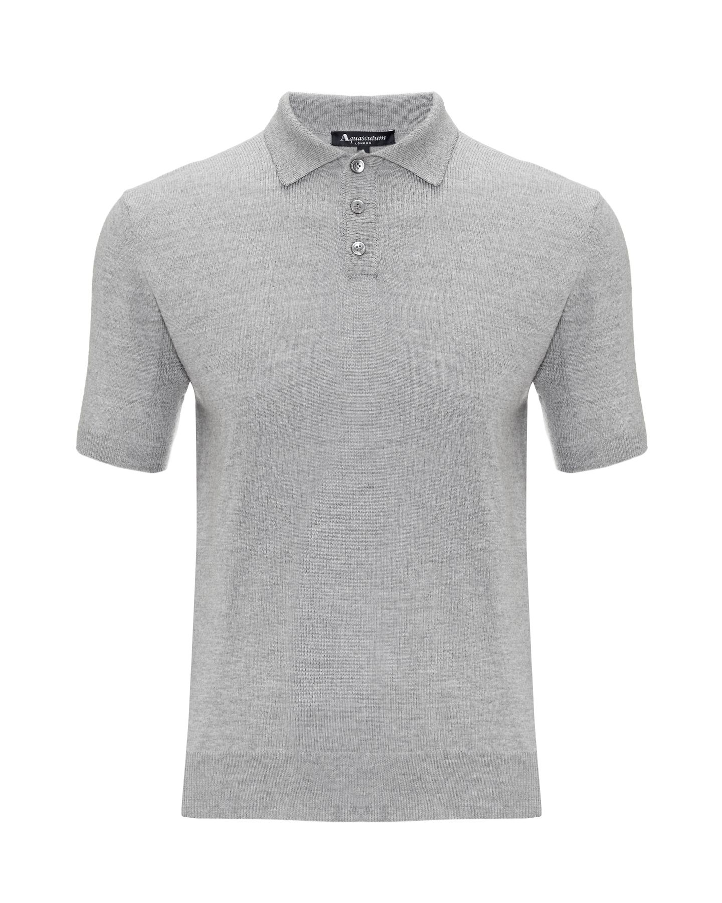 Merino short sleeved knit polo shirt