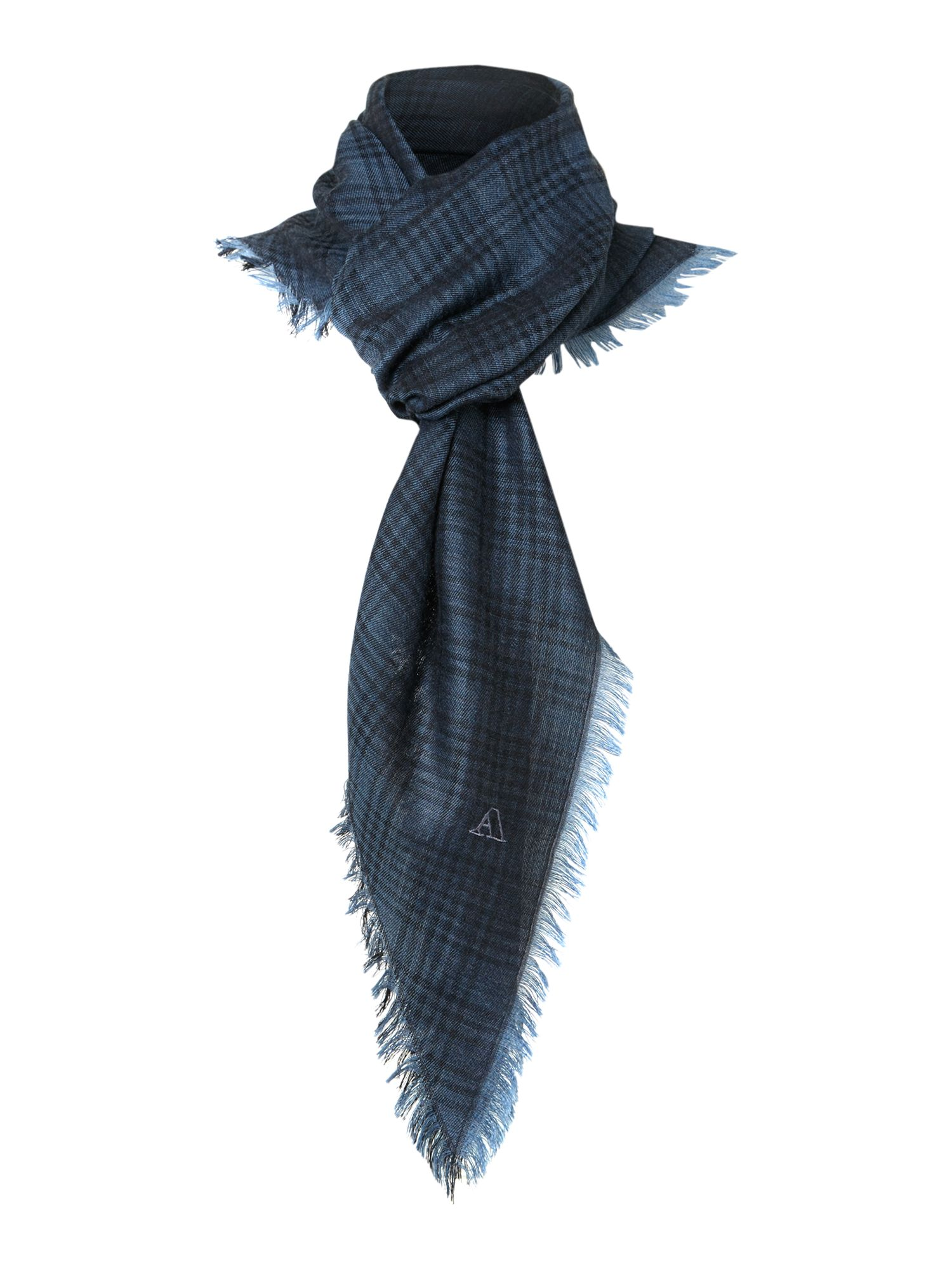 Wool silk check scarf