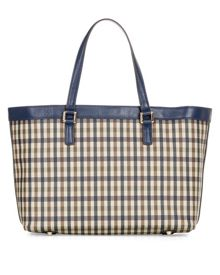 Elias Club Check Leather Shopper Bag