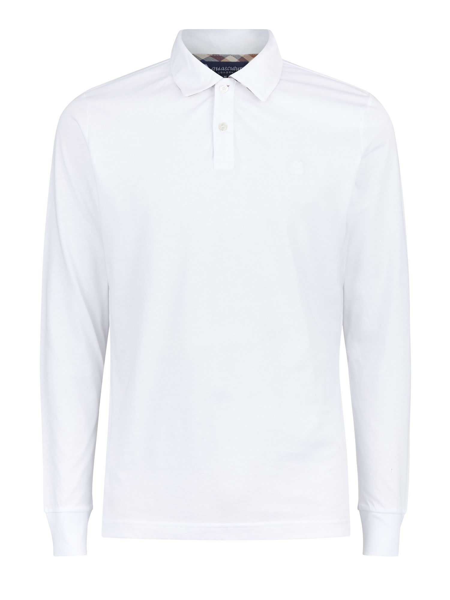 Men's Aquascutum Kendrick Long Sleeve Polo, White
