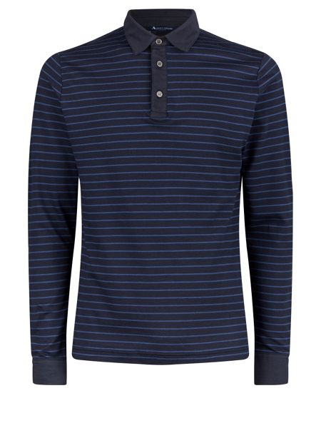 Aquascutum Wharf Stripe Long Sleeve Polo