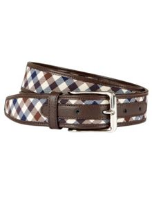 Aquascutum Club Check Leather Edge Belt