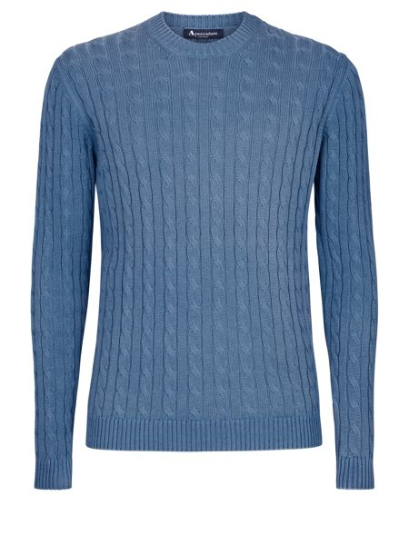 Aquascutum Eton cotton cable crew neck knit