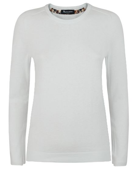 Aquascutum May Club Check Trim Crew Neck