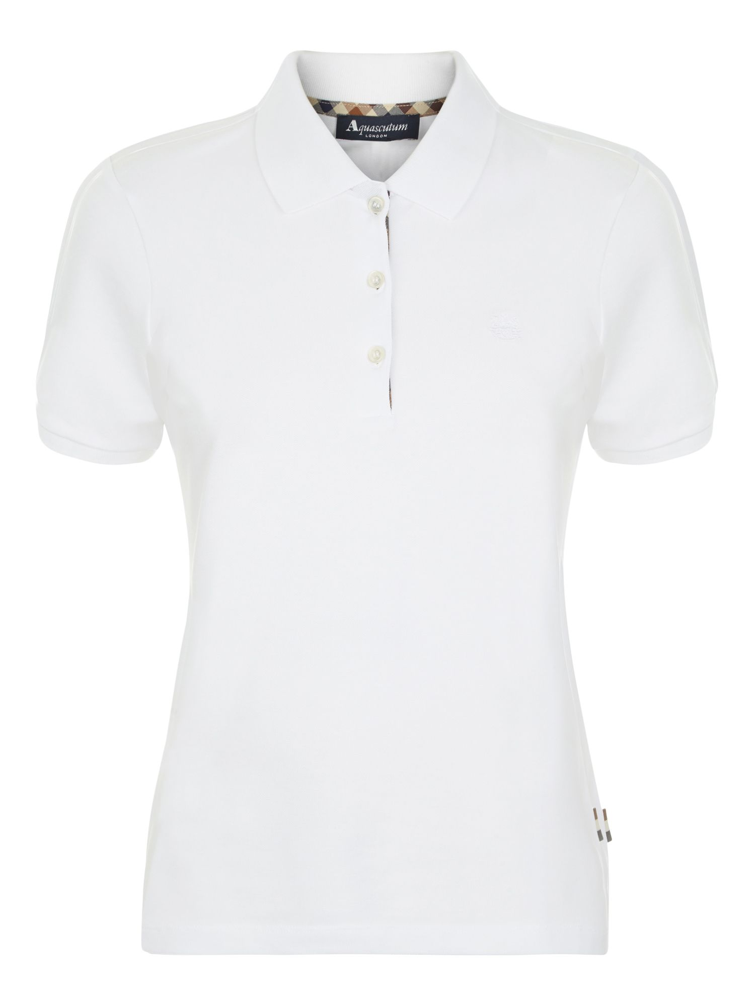 Aquascutum Justina Short Sleeve Piquet Polo, White