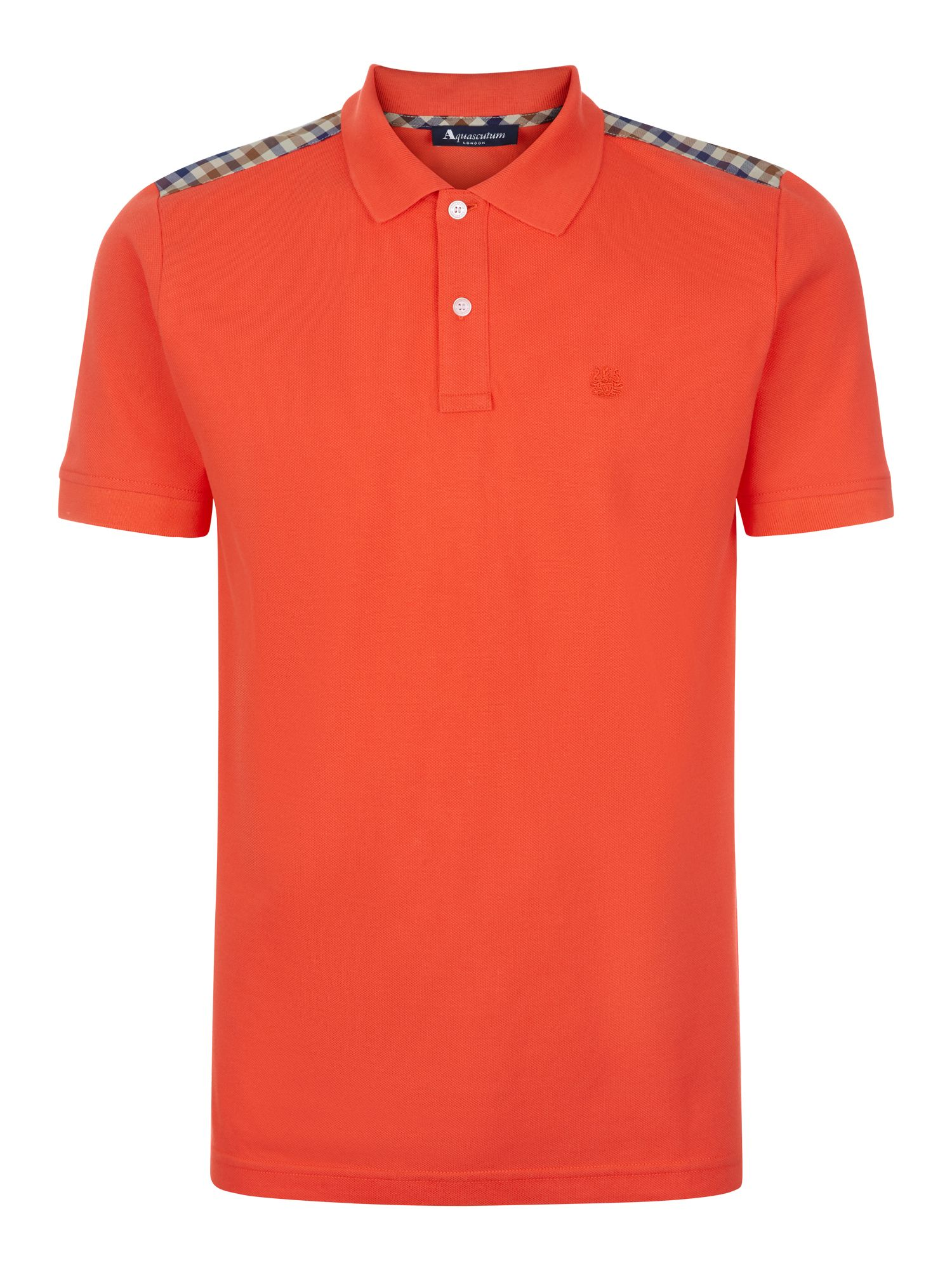 Men's Aquascutum Hill Club Check Polo Shirt, Coral