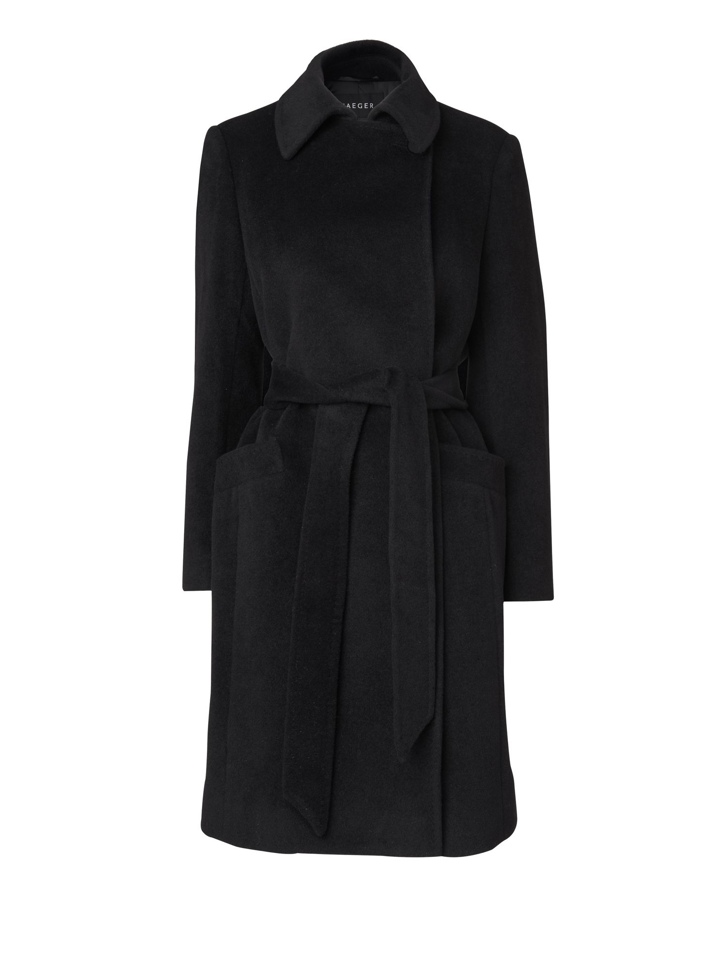 Women's Jaeger Button neck mid belted coat, Black