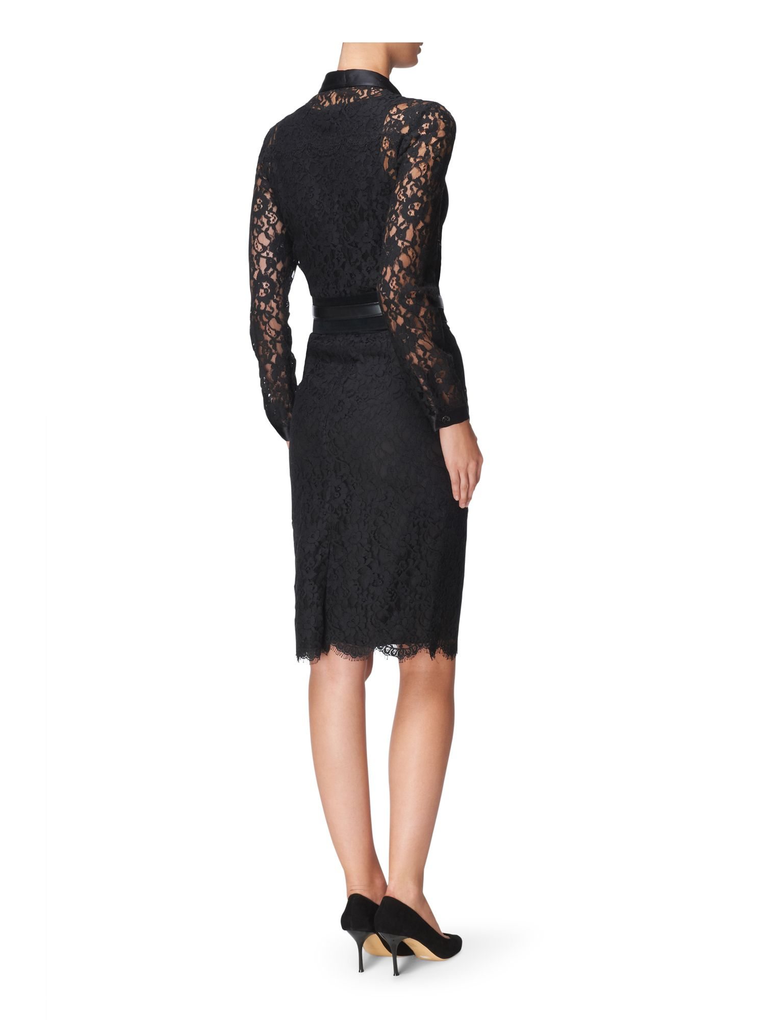 Lace scalloped hem pencil skirt