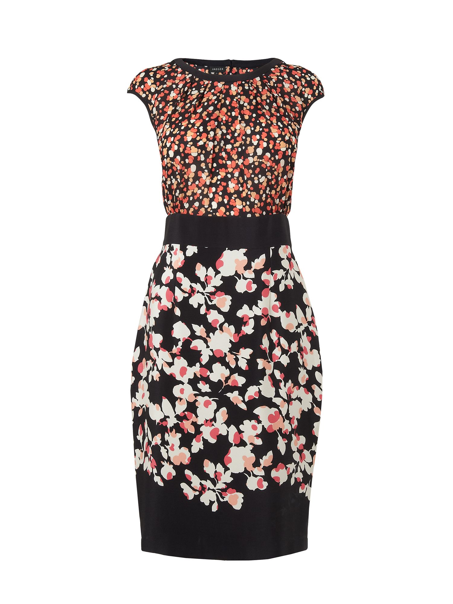 Bubble/floral print silk dress