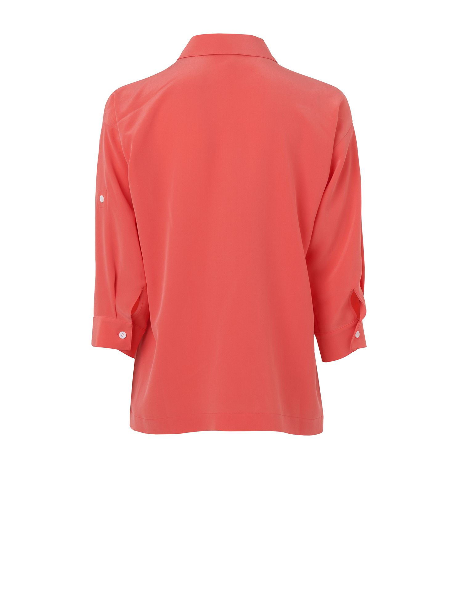 Roll sleeve washed silk blouse