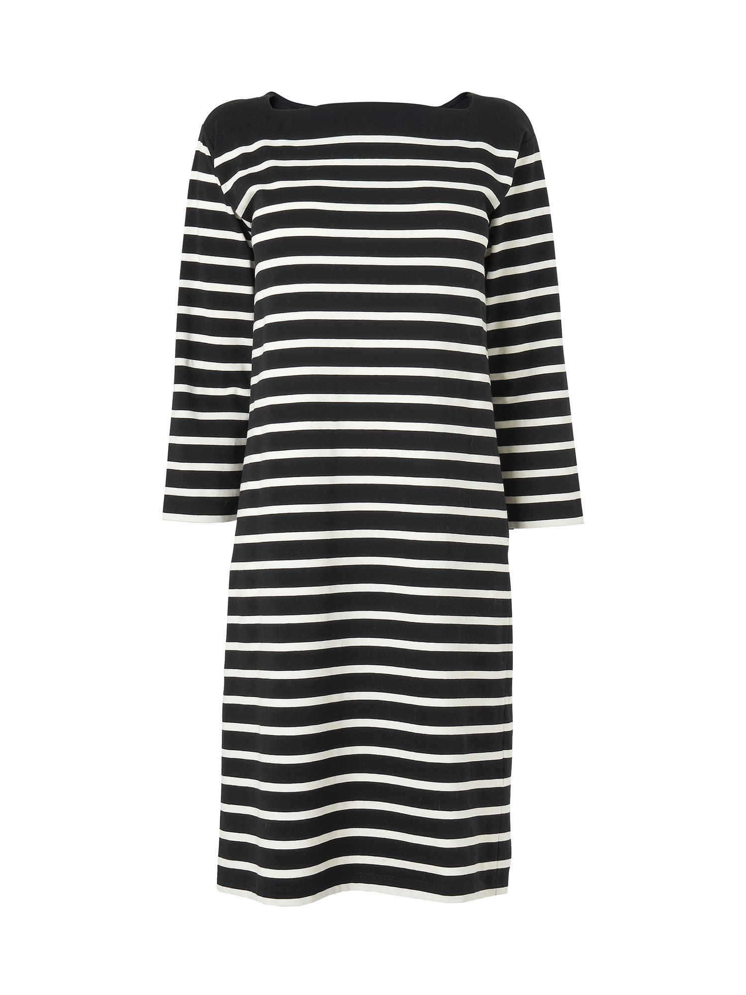 Square neck stripe jersey dress