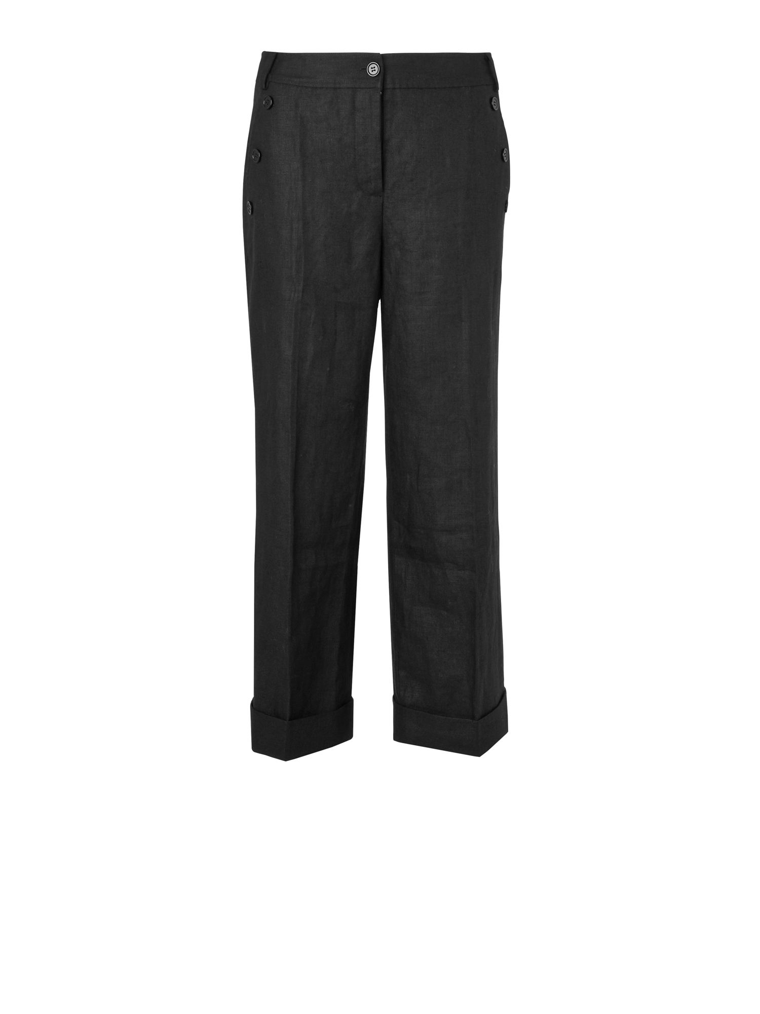 Linen capri pant with turn up