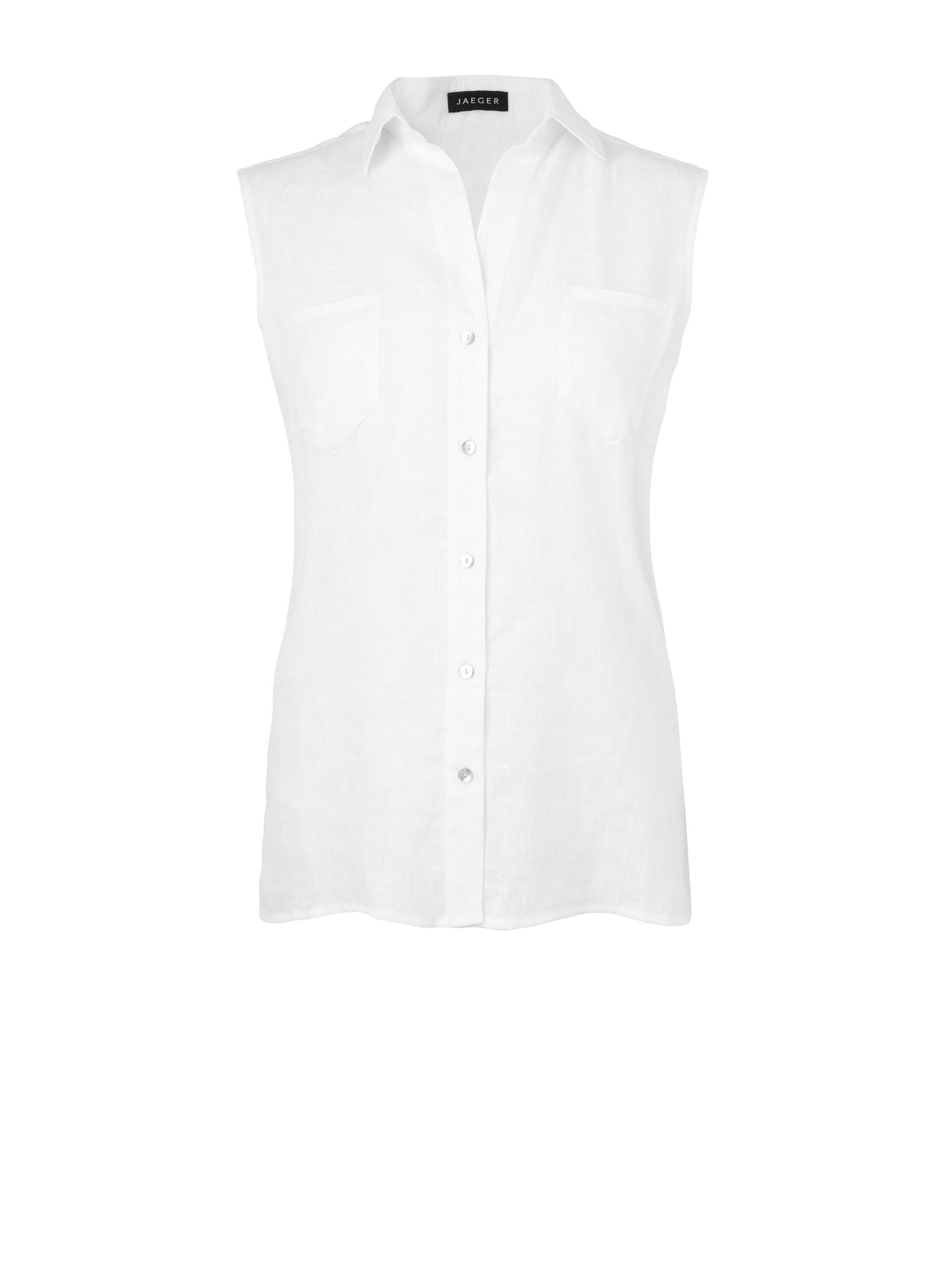 Sleeveless patch pocket linen shirt